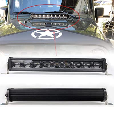 HOZAN 90W 21 Inch 6D Projector Lens LED Bull Bar Light Front Grille Driving Lamp with on/off Wiring Harness for Offroad SUV ATV Truck Pickup Boat Jeep Wrangler JK: Automotive