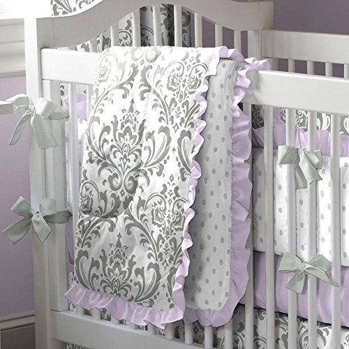 Carousel Designs Lilac and Gray Traditions Damask 3-Piece Crib Bedding Set