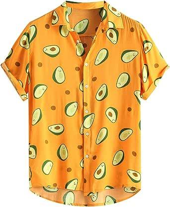 Overdose Camisas Hombre Manga Corta Debajo Cuello Divertido Aguacate Impreso Camisas Casuales Blusa Informal para Fiestas Viaje Camisa Hawaiana