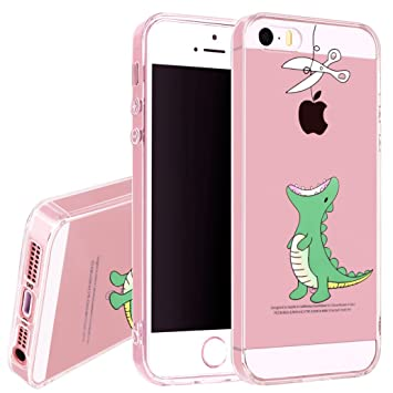 lowest price 23631 e403e Yoowei iPhone SE/5/5s Case, Crystal Clear Case Cute Cartoon Ultra Slim  Anti-Scratch Flexible Soft Silicone Gel Cover Bumper Protective Case for  iPhone ...