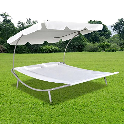 Tidyard 2-Persons Double Loungebed with Canopy, Sun Bed with 2 Pillows Outdoor Garden, Backyard, Patio Weather Resistant Cream White