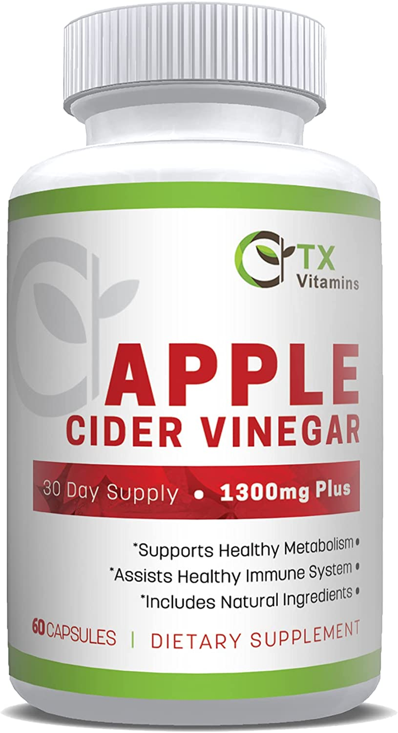 Natural Apple Cider Vinegar - Premium ACV Capsules Supports Indigestion, Detox, Cleanser, & Weight Loss - Supports Heart Health and Boosts Metabolism