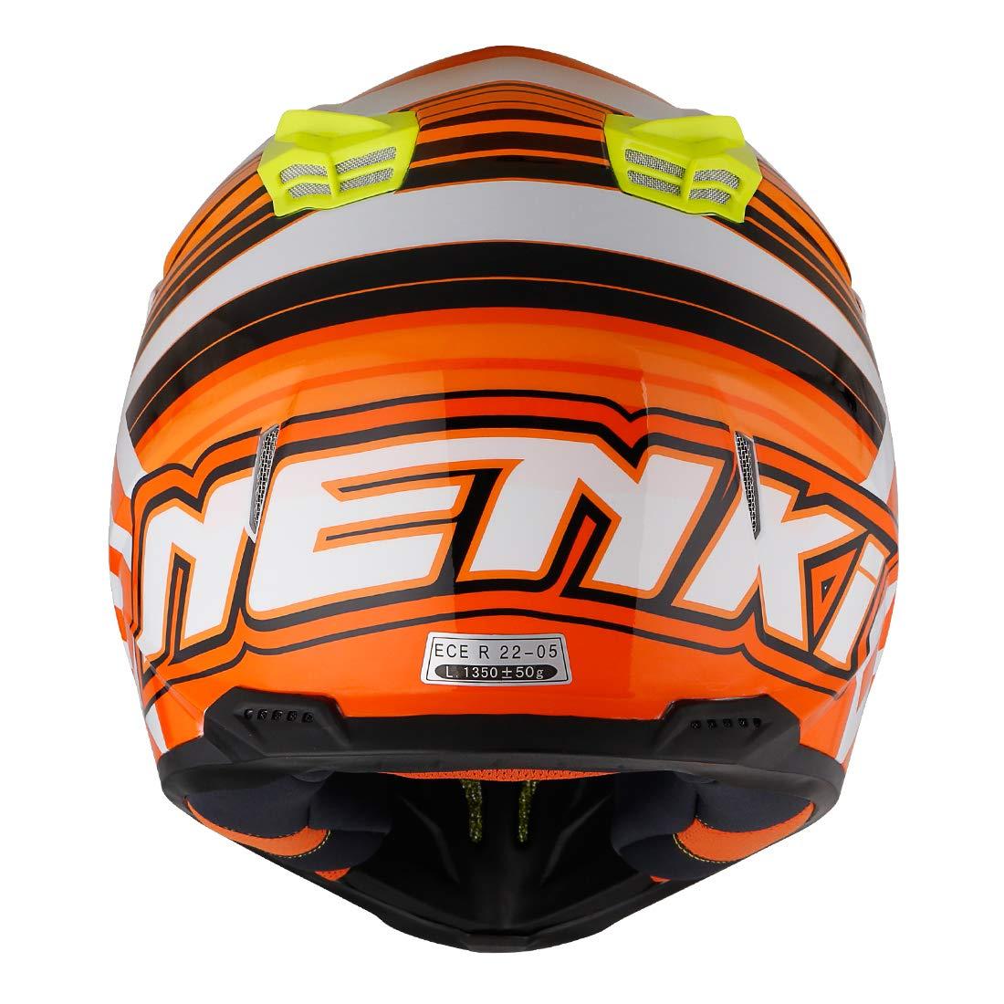NENKI Casque Moto Cross NK-316 pour Hommes et Femmes ECE Approuv/és Vert Jaune Noir, XL