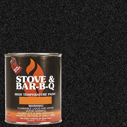 High Temperature Paint- Metallic Black 16 oz (Fireplace Black Paint)