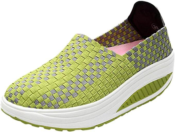ZARLLE Zapatillas Mujer Agua Tejidas Ligeras Slip On Sports Shoes Casual Zapatos Deporte Mujer Moda Sandalias de Verano Mocasines de Plataforma Casuales Zapatillas de Lona para Mujer Cuña: Amazon.es: Ropa y accesorios