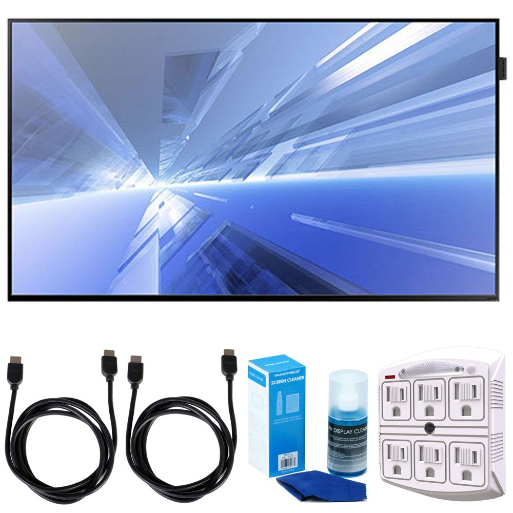 Samsung (DB40E) 40'' Slim Direct-Lit LED Display for Business w/ Accessories Bundle Includes, 2x 6ft. HDMI Cable, SurgePro 6-Outlet Surge Adapter with Night Light & Screen Cleaner For LED TVs
