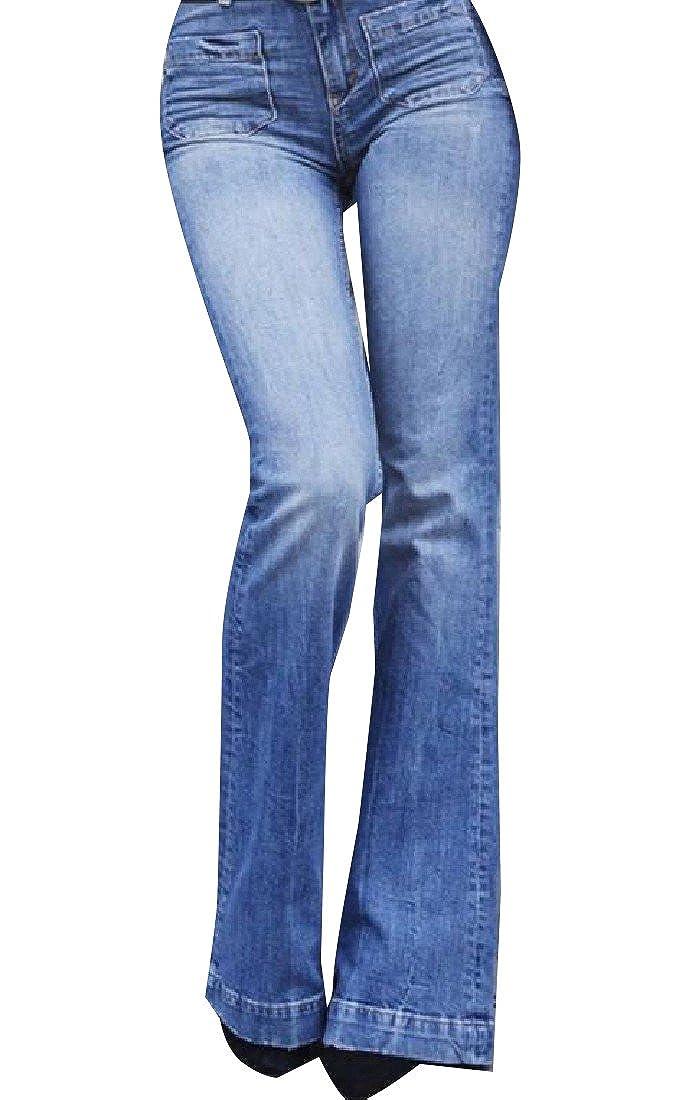 Tootlessly-Women Bell Bottom High Waist Pockets Stylish Regular Fit Jean