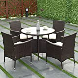 TANGKULA 5 Piece Dining Set Patio Furniture Outdoor Garden Lawn Rattan Wicker Table and Chairs Set Conversation Chat Set with Tempered Glass Top Table (round table)