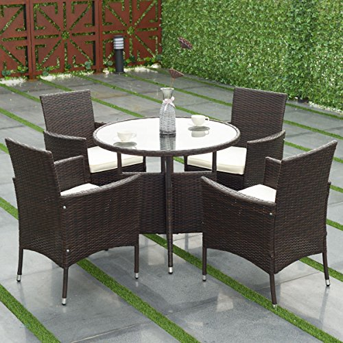 Rattan Round Chair - TANGKULA 5 Piece Dining Set Patio Furniture Outdoor Garden Lawn Rattan Wicker Table and Chairs Set Conversation Chat Set with Tempered Glass Top Table (round table)