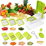 Godmorn Vegetable Slicer, Mandoline Slicer Dicer, 7 blades Peeler Hand-Guard Cleaning Tool Bonus,Multi-function Food Proceer, Fruit and Cheese Cutter,Chopper,Grater
