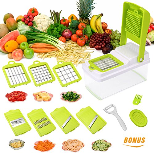 Godmorn Vegetable Slicer, Mandoline Slicer Dicer, 7 blades Peeler Hand-Guard Cleaning Tool Bonus,Multi-function Food Proceer, Fruit and Cheese (Easy Slicer)