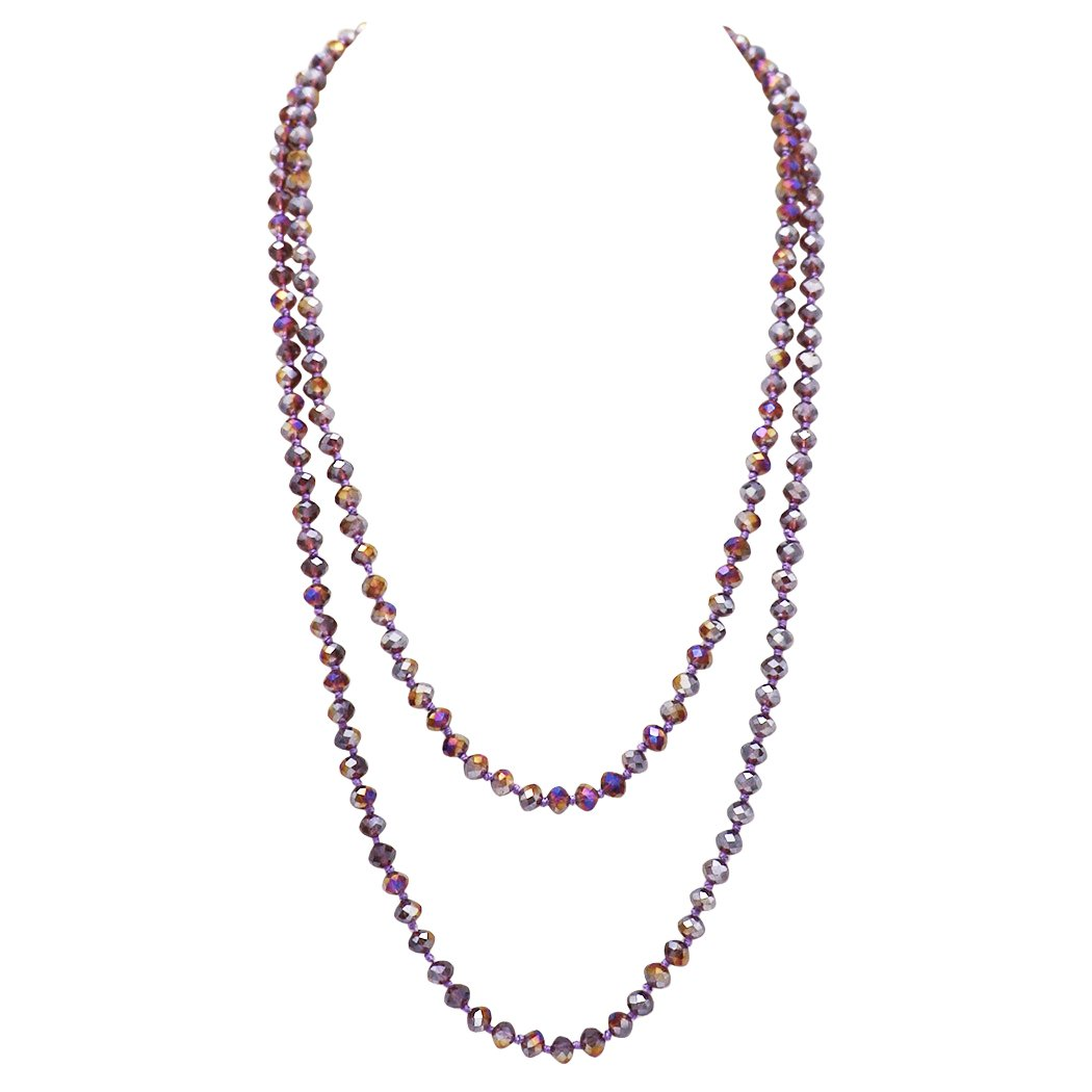 Rosemarie Collections Women's Facted Glass Beaded Long Strand Necklace 60 Inch (Amethyst)