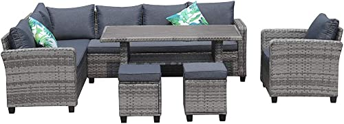 KEYNICE Deluxe Outdoor Patio Furniture Set PE Rattan Wicker Sectional Sofa