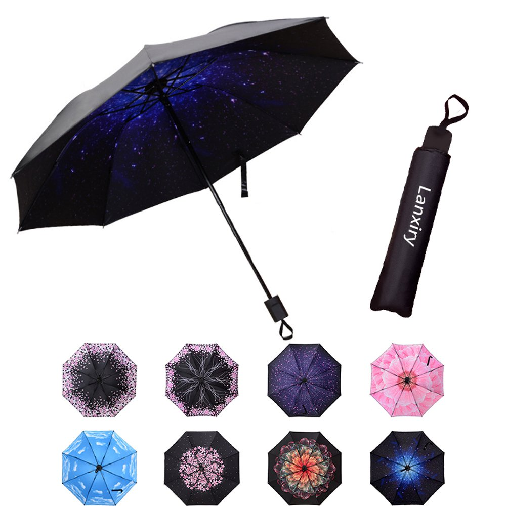 Compact Travel Umbrella,Windproof Waterproof Stick Umbrella Anti-UV Protection Golf Umbrellas (Starry sky)