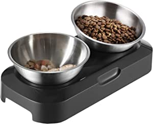 Takezuaa Elevated Cat Bowls, 15° Tilted Raised Cat Food and Water Bowls for Small Size Dog, Food Grade Stainless Steel Nonslip Pet Feeder Bowl