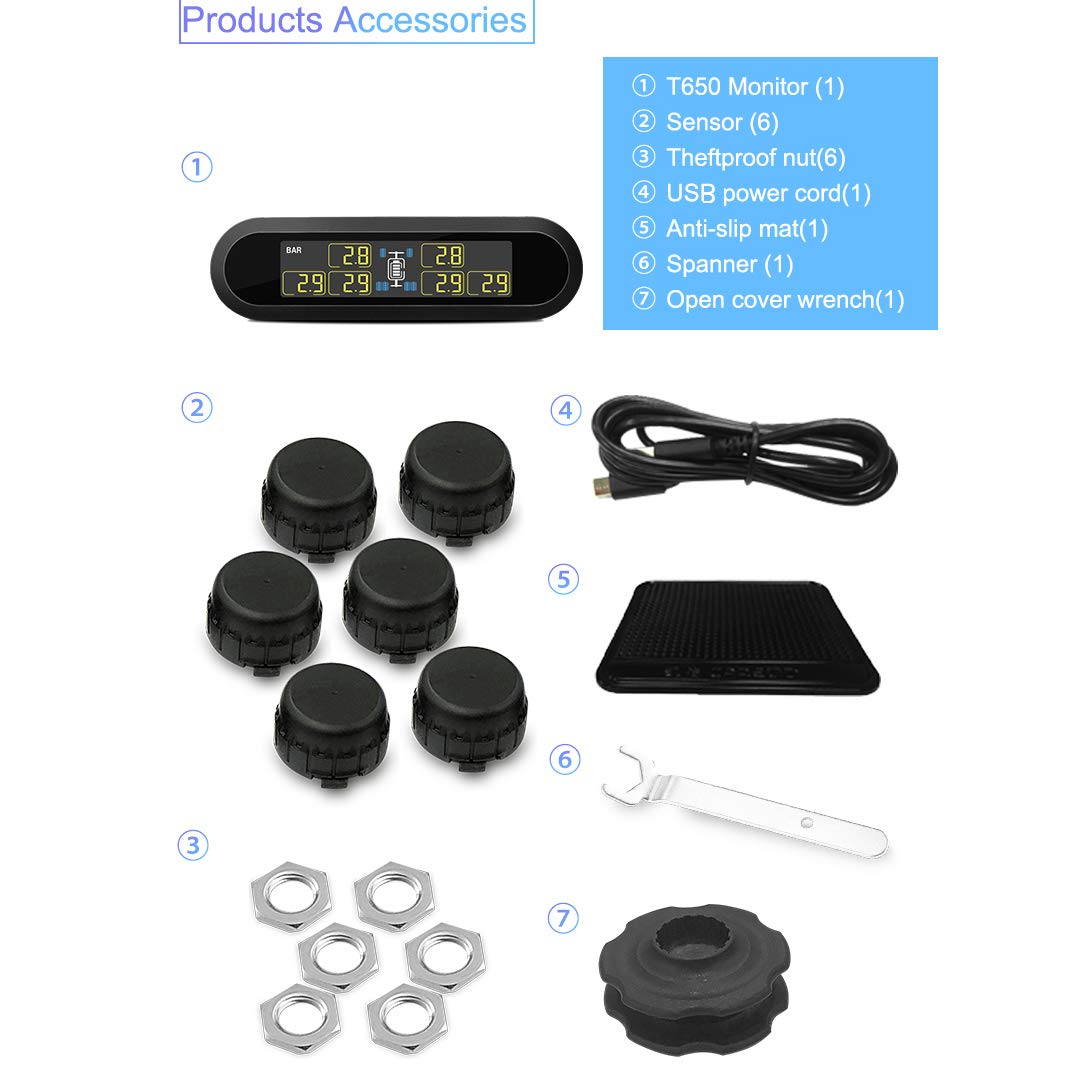 Anyota Solar RV Tire Pressure Monitoring System Real-time Monitor 6 Tire's Pressure and Temperature for Pickup Tow Trailer(0-116 PSI) by Anyota (Image #8)