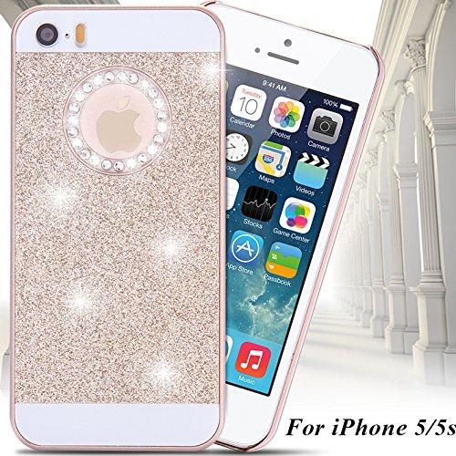 SKS Distribution® Linda chispeante brillo del oro de Bling del diamante cristalino de la contraportada del estuche rígido para Apple Iphone 5 5S SE