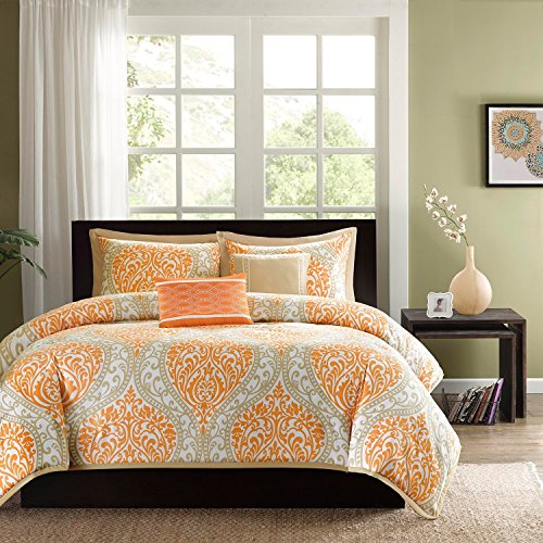 5 Piece Tangerine Orange Grey Damask Floral Duvet Cover King Set, Orange White Adult Bedding Master Bedroom Modern Stylish Medallion Pattern Quatrefoil Shape Elegant Themed Traditional Polyester