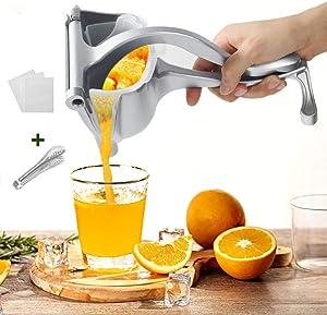 YAUNGEL Newest Manual Metal Fruit Juicer, Portable Fruit Press Lemon Squeezer, Hand Squeezer Fruit Juicer Citrus Steel Juicer Extractor Tool-20 Filter Bags Included(Silver)