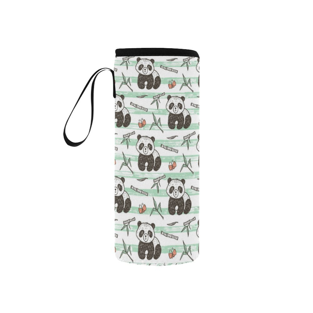 InterestPrint Cute Baby Panda Bamboo Neoprene Water Bottle Sleeve Insulated Holder Bag 7.04oz-12.67oz, Animal Butterfly Stripes Sport Outdoor Protable Cooler Carrier Case Pouch Cover with Handle