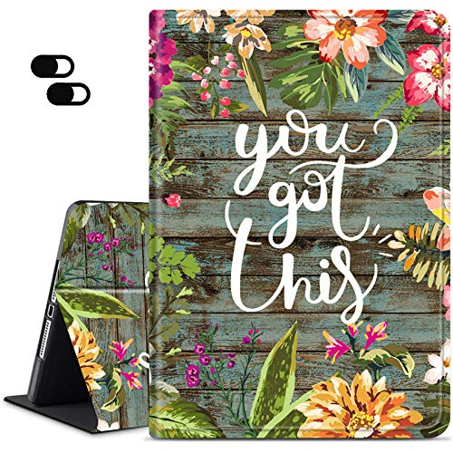 iPad 6th Generation 2018/ iPad 5th Generation 2017 Case, iPad 9.7 Case, Slim Adjustable Stand Back Shell Protection Smart Cover for ipad Air 2/ iPad Air + 2 x Camera Cover, Watercolor Vintage Flower