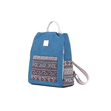 Mishuo Mochilas Escolares Mujer Niñas Adolescentes Antirrobo Lona Vintage Etnico Chino Bandolera Escolar Juvenil Viaje Casual (Azul): Amazon.es: Equipaje