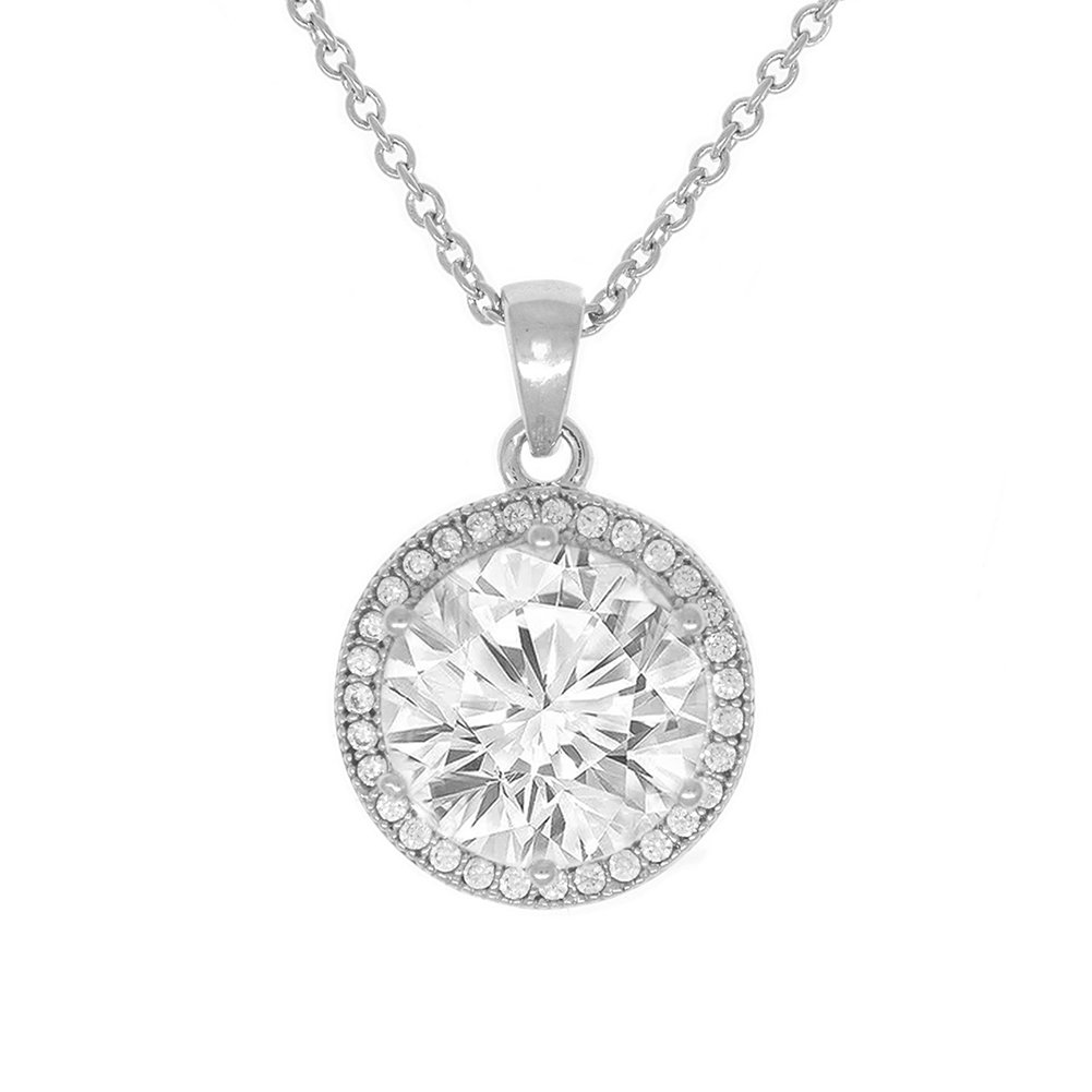 Cate & Chloe Mariah 18k White Gold Plated Round Cut CZ Halo Pendant Necklace - Cubic Zirconia Halo Cluster Silver Necklace w/Solitaire Round Cut Crystal - Wedding Anniversary Jewelry - MSRP - 150