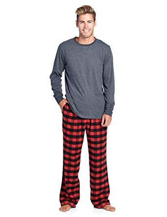 Ashford   Brooks Mens Flannel Long-Sleeve Top and Flannel Bottom Pajama Set  - Red 46271a180