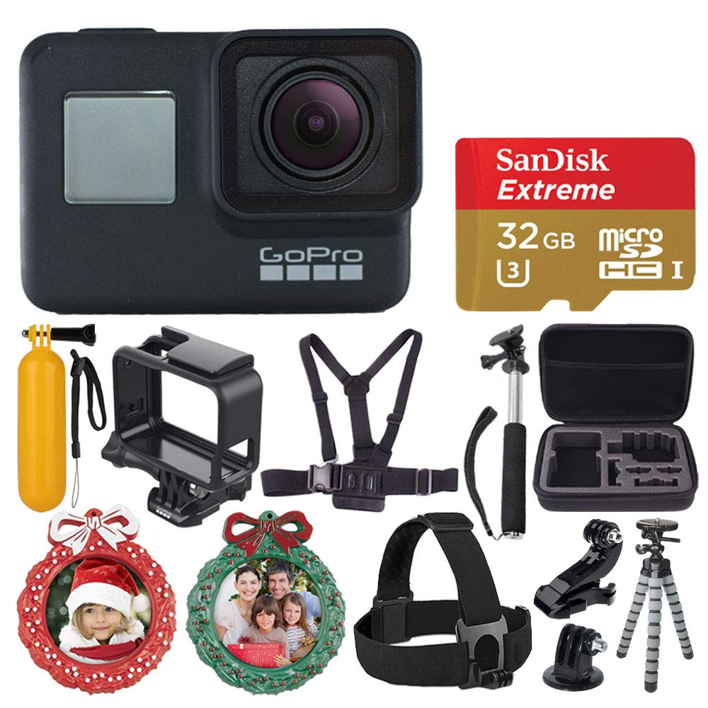 GoPro HERO7 Black Sports Action Camera + SanDisk Extreme 32GB Memory Card + Medium Case + Flexible Tripod + Head & Chest Strap + Monopod + Floating Handle + 2X Wreath Photo Ornament - Holiday Bundle