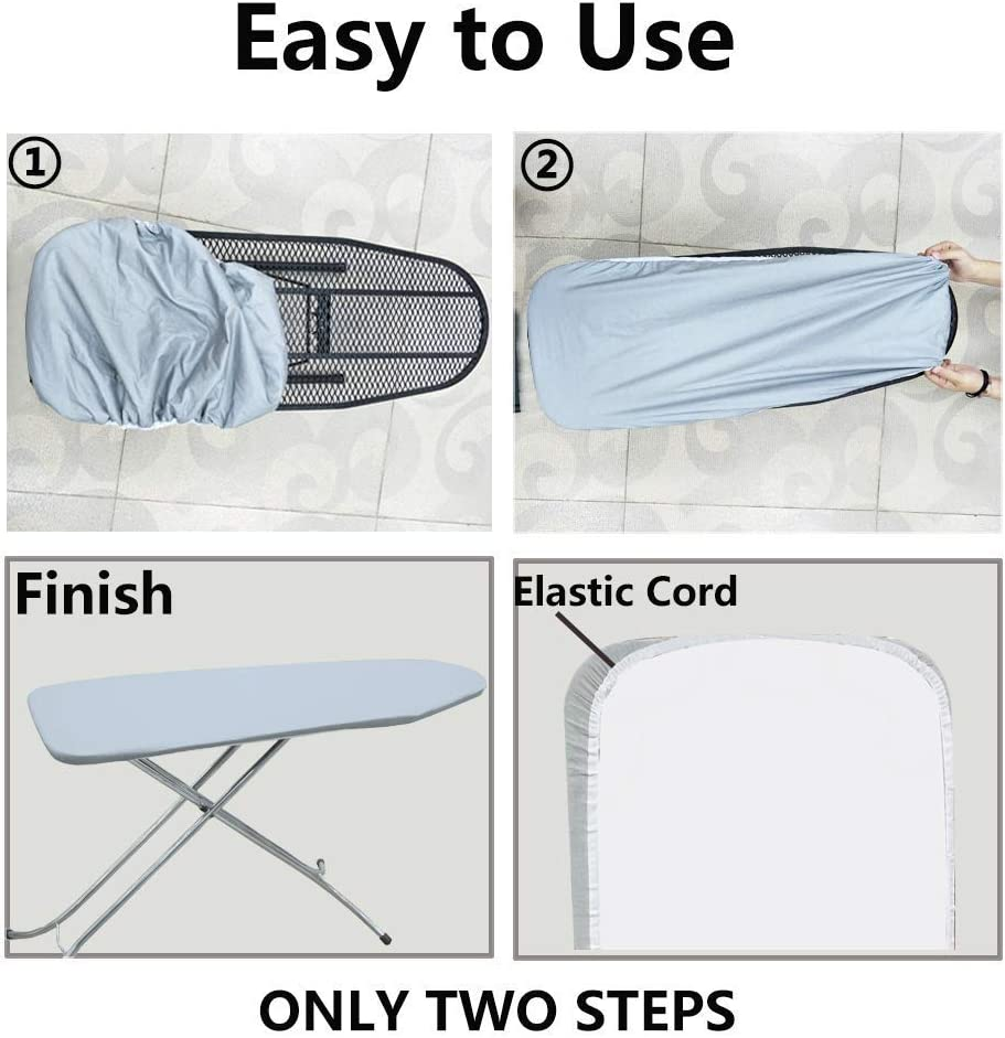 Duwee 137x38cm Ironing Board Cover Heat Resistant Thick Felt Pad with Elastic Cord (Blue) 3pcs