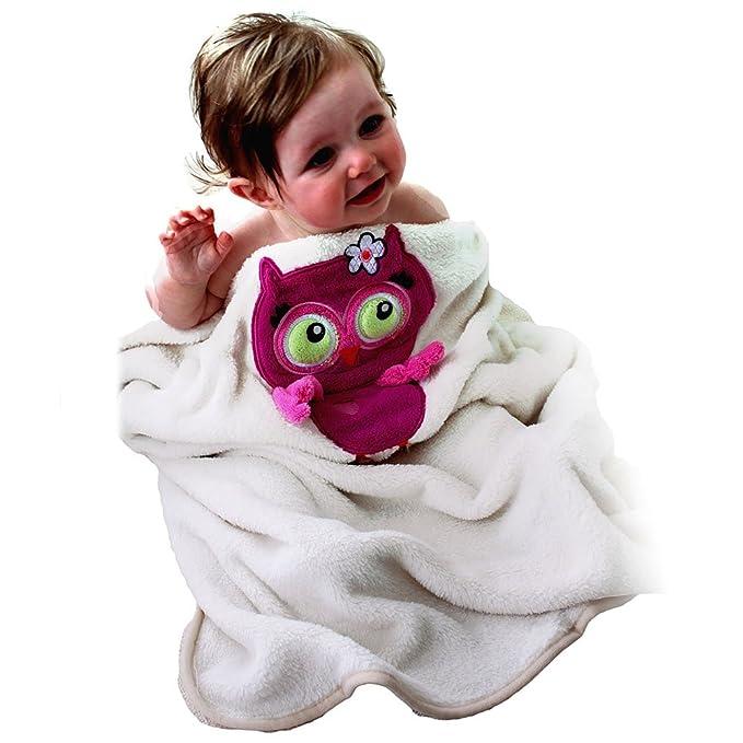 "SOZO Baby Girls Newborn Pink Owl Baby Blanket, Ivory/Pink, 30""x40"""