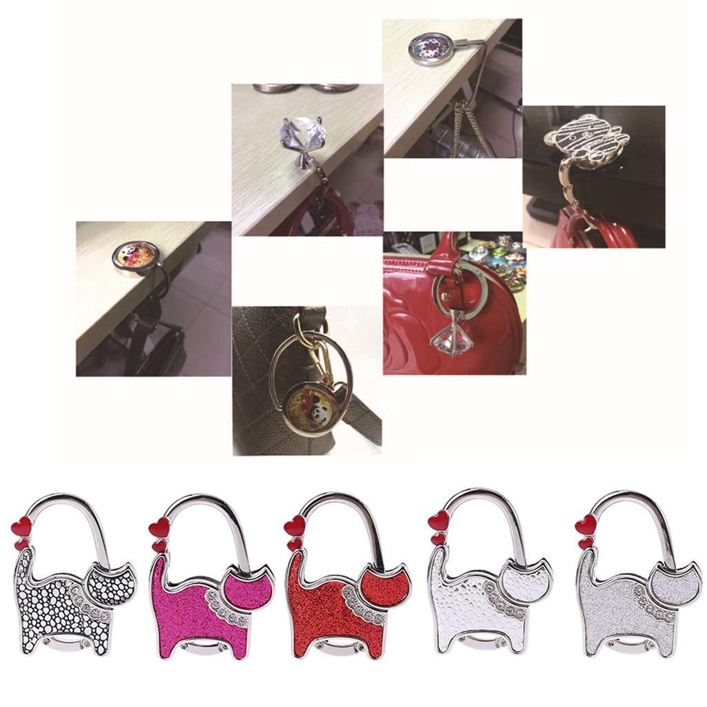 Rockrok Women Foldable Handbag Hook,Two-hearted Cat Rhinestone Folding Table Handbag Hanger