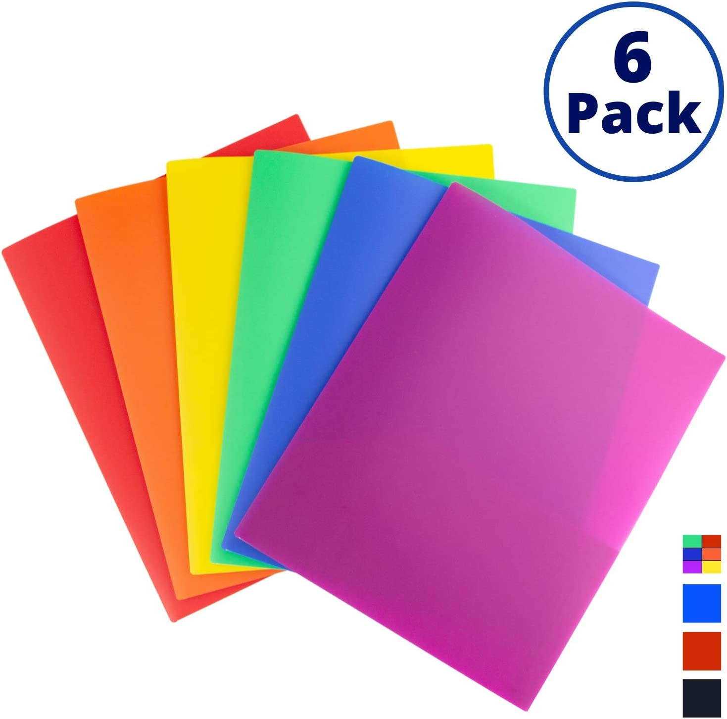 Dunwell Colored Pocket Folders, 2-Pocket File Folders (6 Pack, Colorful) School Folders, Plastic Folders with Labels, Two Pocket Folders, Letter Size File Folders with Pockets, Colored File Folders : Office Products