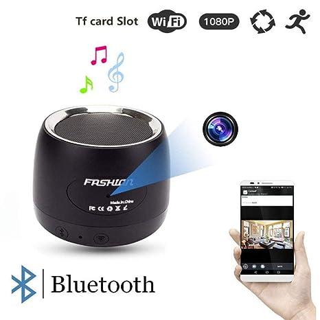 WiFi Cámara Oculta Bluetooth Altavoz 1080P Cámara Espía con 180 ° Girar La Lente Y La