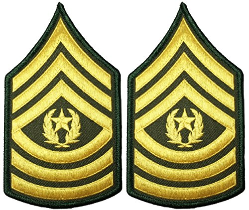 ergeant E-9 Major Rank Stripes Army Uniform Chevrons Sew on Iron on Arms Shoulder Embroidered Applique Patch - Gold on Green - By Ranger Return (Chevron Patch Set)