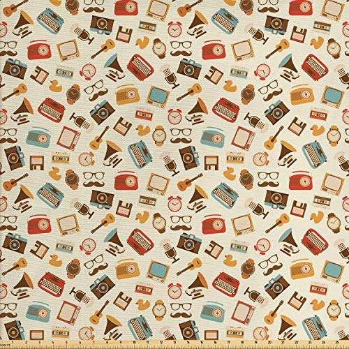 (Ambesonne Vintage Fabric by The Yard, Retro Pattern Old Fashioned Icons Alarm Clock Typewriter Gramophone Radio Cassette, Decorative Fabric for Upholstery and Home Accents, 1 Yard, Multicolor)