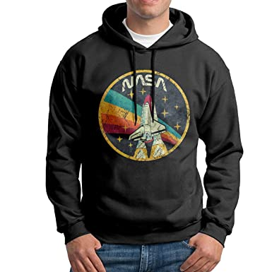 b27d0fd83f6 Amazon.com  USA Space Agency Vintage NASA Men Long Sleeve Casual Hoodie  Hooded Sweatshirt Drawstring Black  Clothing