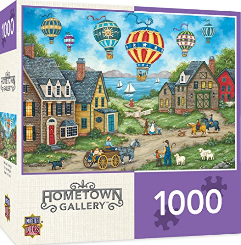 MasterPieces Hometown Gallery Passing Through - Hot Air Balloons 1000 Piece Jigsaw Puzzle by Bonnie White