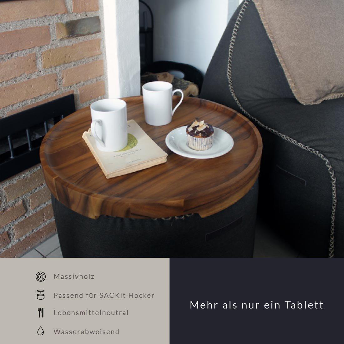 SACKit TRAYit Tablett für Sitzkissen Eiche weiß gebeizt: Amazon.de ...