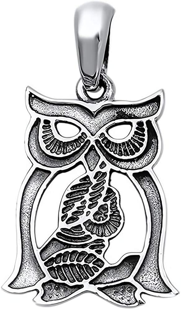 Cute Gift for Women Owl Glitzs Jewels 925 Sterling Silver Pendant for Necklace