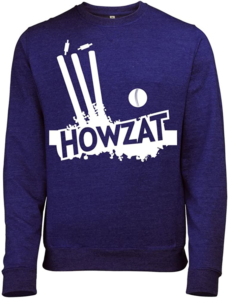 Batch1 Mens Howzat Cricket Stumps /& Ball Printed Ashes Test Match Sweatshirt Jumper