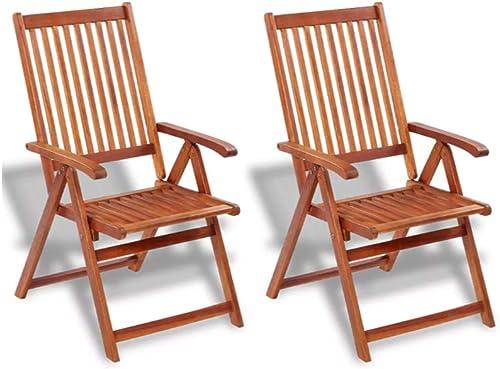 ZAMAX 2pcs Natural Oil Finished Acacia Hardwood Folding Chairs
