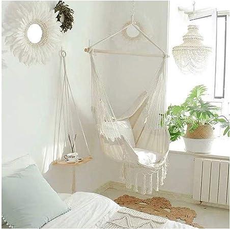 KOREY Interior | Exterior Silla Colgante Algodón Colgante Silla Hamaca para Dormitorio para Adultos Sala De Estar Jardín Bar Patio Patio Porche (Color : White Fringed Chair+Pillow): Amazon.es: Hogar