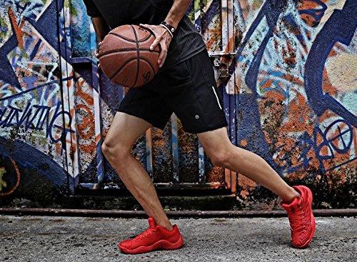 Mens / zapatos de baloncesto del modelo de la cebra de los muchachos zapatillas de deporte superiores altas de la manera amortiguación antideslizante Scarlet