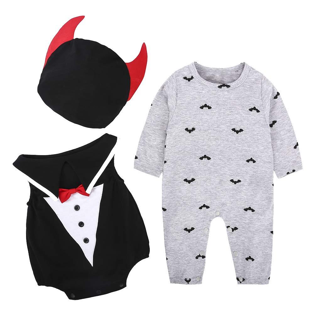 LITTHING Baby Kleidungen Fledermaus Magier Dämonl und Kürbis Design Halloween Kostüm Unisex Strampelanzug Süßes Kinderkostüm mit Kapuze Bequemer Stoff geeignet für Kinder 6-24 Monate (A, 95)