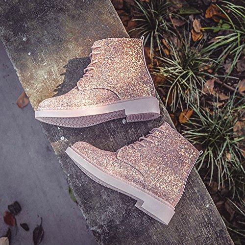 Schuhe Pink Stiefel 36 Mode Damen Flache Boots Lederstiefel Einzelne Plateau Ferse Warm 40 High Top Stiefel Schnürer Party Frauen Sexy Mode Elegant Glanz Sonnena Martin Stiefel B4AwA