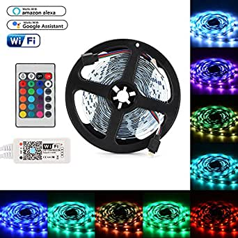 XCSOURCE WiFi RGB Controller + LED Strip Light 5M SMD 5050 30LEDs/m + 24 Keys IR Remote Control for TV Backlighting Cabinet Lighting LD1354