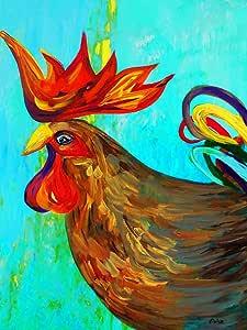Vangohart Louis Leonard Art - Ridiculously Handsome Rooster - Artist Eloise Schneider, Canvas Giclee Wall Art Print, Framed