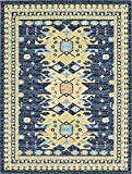 Unique Loom Taftan Collection Geometric Tribal Navy