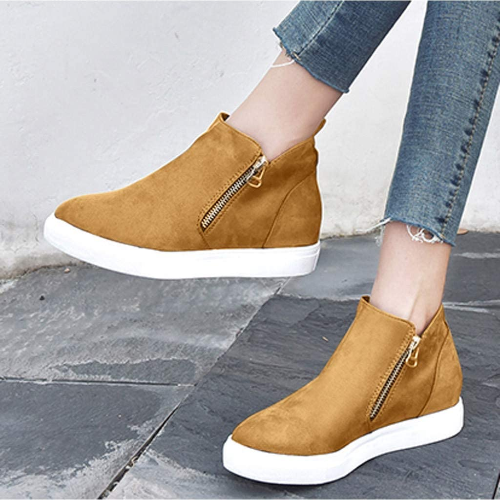 Sumeimiya Womens Platform Sneakers Hidden Wedges Slip On High Top Side Zipper Ankle Boots Casual Sporty Walking Shoes